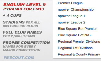 England level 9 + real club and competition names for FM13
