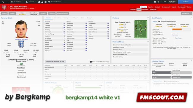 Bergkamp14 White V1 Skin For Fm14 Fm Scout