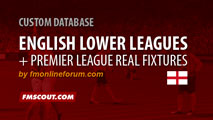 English Lower Leagues and Premier League Fixtures for FM15