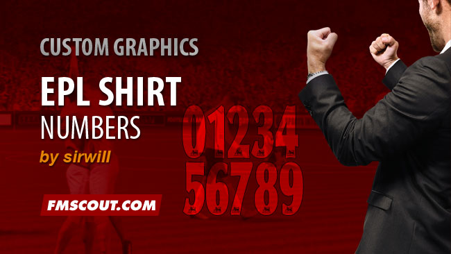 FM 2015 Misc Graphics - EPL Shirt Numbers for FM15