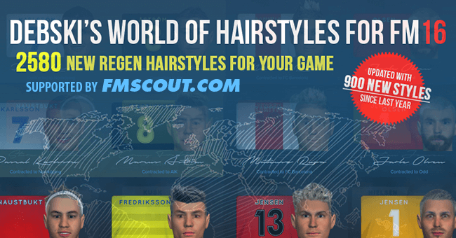 FM 2016 Misc Graphics - Debski's World of Hairstyles - Regens Hair Pack for FM16