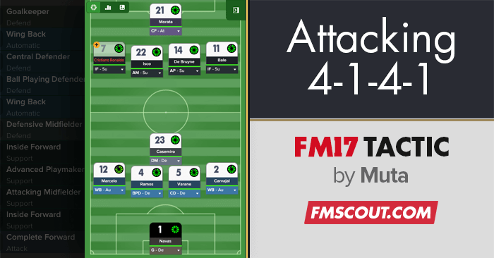 Football Manager 2017 Tactics - Attacking 4-1-4-1 DM Wide