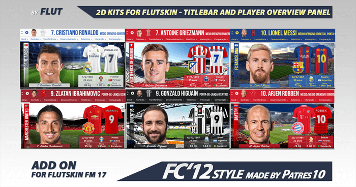 Football Manager 2018 Kits - 2D Kits Season 17/18 for Flutskin - Titlebar and Player Overview Panel (version 9.0)