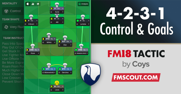 Football Manager 2018 Tactics - Control & Goals 4-2-3-1