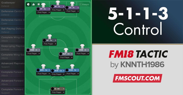 Football Manager 2018 Tactics - 5-1-1-3 Control FM18
