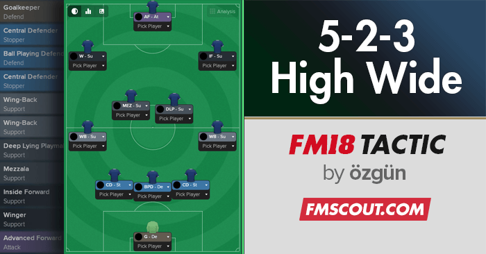 Football Manager 2018 Tactics - 5-2-3 High & Wide