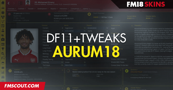 Football Manager 2018 Skins - Aurum18 DF11