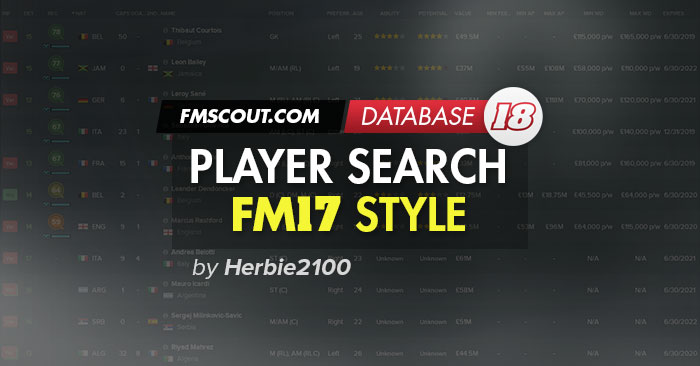 Football Manager 2018 Views & Filters - FM18 Player Search View FM17 Style