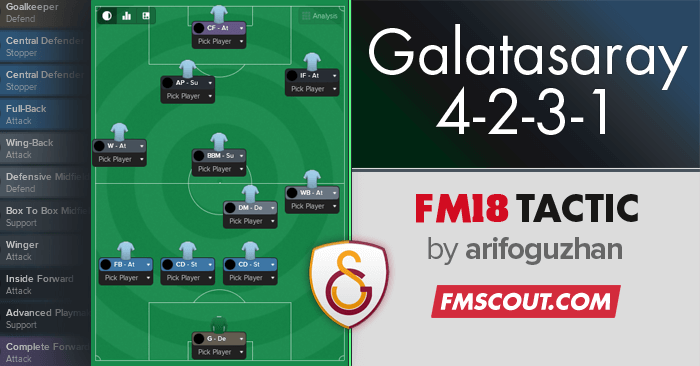 Football Manager 2018 Tactics - Galatasaray 4-2-3-1 Asymmetric Tactic