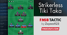 Strikerless Tiki Taka FM18 Tactic