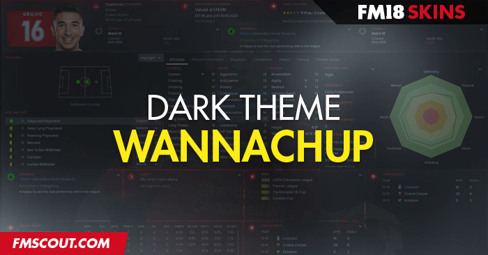 Football Manager 2018 Skins - Wannachup Dark FM18 Skin