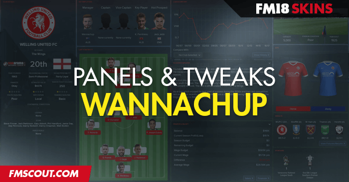 Football Manager 2018 Skins - Wannachup FM18 Skin v1.21 (Default, Dark and Light)