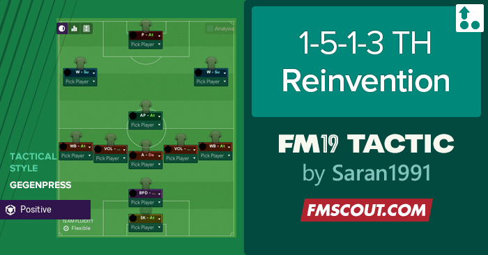 Football Manager 2019 Tactics - 1-5-1-3 TH Reinvention Tactic