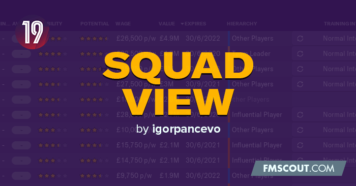Football Manager 2019 Views & Filters - Squad View by igorpancevo