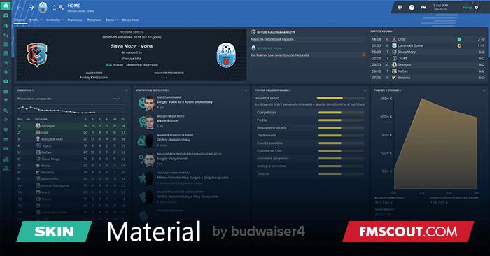 Football Manager 2019 Skins - Material Skin for FM19 by budwaiser4