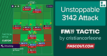 Unstoppable 3-1-4-2 Attack FM19 Tactic