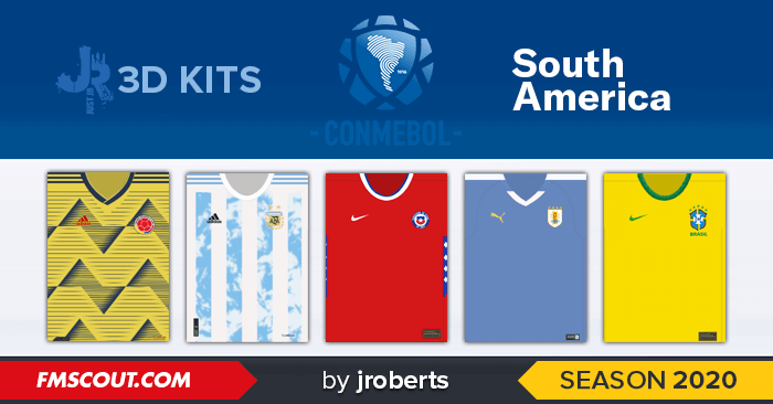 Football Manager 2020 Kits - South American Nations 3D Kits for FM20