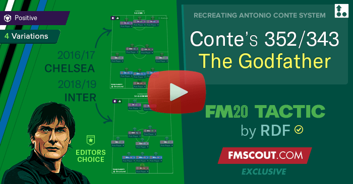 Football Manager 2020 Tactics - Antonio Conte's 3-5-2 / 3-4-3 Tactics for FM20 by RDF