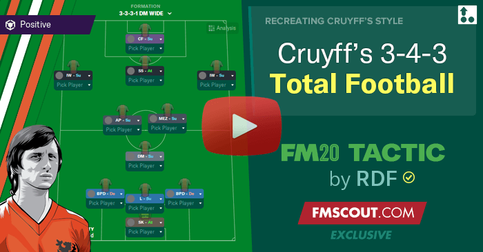 Football Manager 2020 Tactics - Johan Cruyff's 3-4-3 Total Football Tactic for FM20 by RDF
