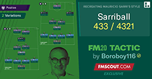 Sarriball 4-3-3/4-3-2-1 | Sarri Tactics for FM20