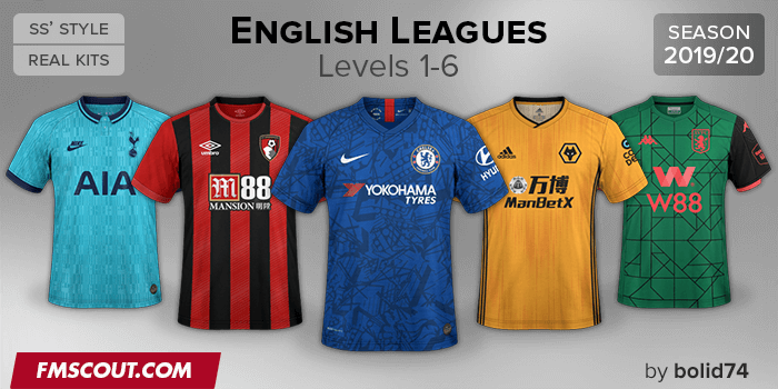 Football Manager 2020 Kits - English Leagues Kits Megapack 2019/20