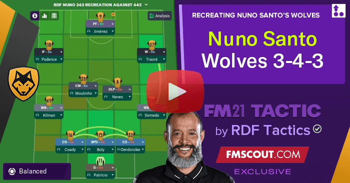 Football Manager 2021 Tactics - Nuno's Wolves 3-4-3 by RDF