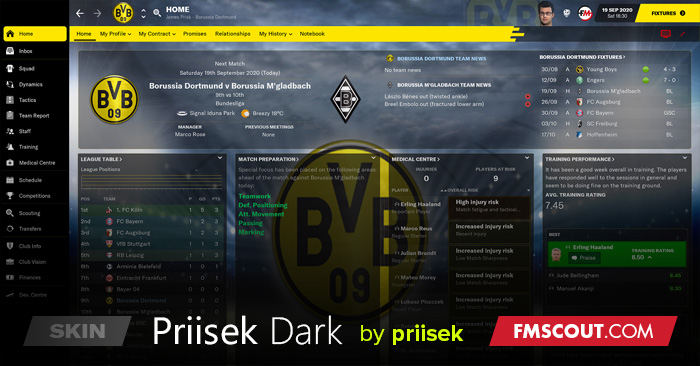 Football Manager 2021 Skins - Priisek Dark FM21 Skin inc. TOUCH Version Updated 14:00 24.02.21