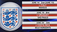 England's World Cup fixtures - Infographic